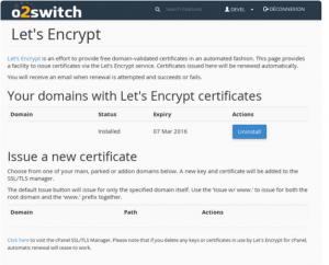 Certificat SSL gratuit chez O2swtich